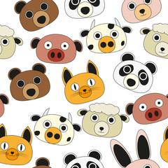 animal face seamless pattern