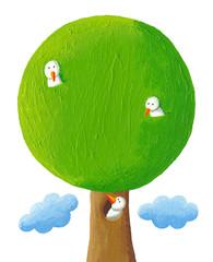 Tree with three birds