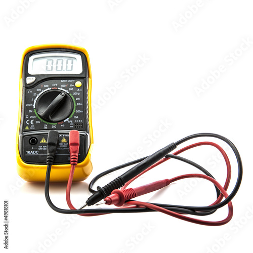 Digital multimeter on white background