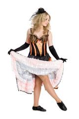Beautiful blonde girl dancing