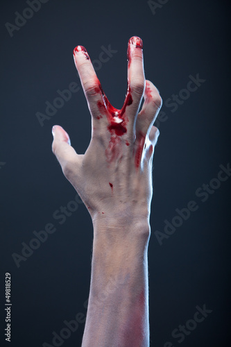 Bloody zombie hand