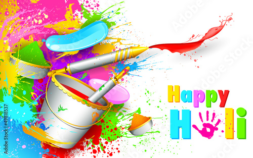 Holi Background with bucket of color
