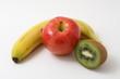 platano, manzana y kiwi