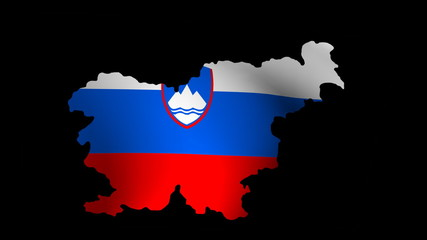 Fluttering Slovenia map flag animation
