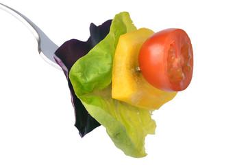 Salad mix on fork
