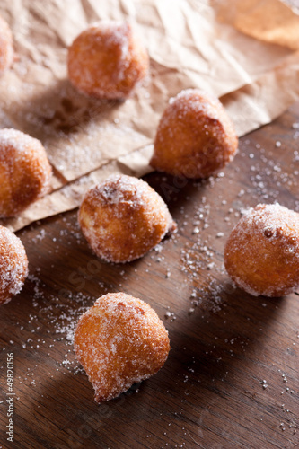 Fritter puff dusted with sugar