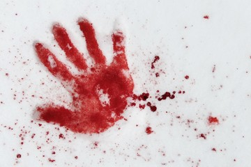 blutige hand im schnee I