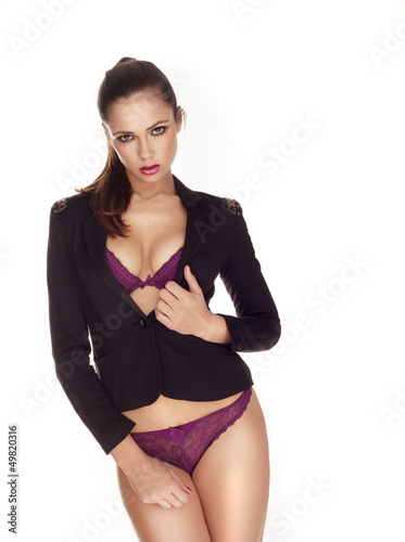 Sexy woman in black blazer