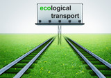 two railroads of ecological transport with advertisement poster
