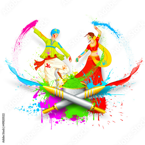 Couple Playing Holi