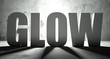 Glow word with shadow, background