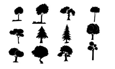 different tree  vector silhouettes