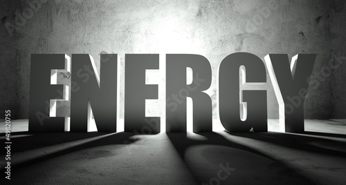 Energy word with shadow, background