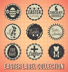 Vector Set: Vintage Happy Easter Sunday Labels