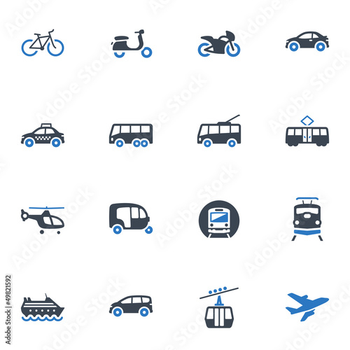 Transportation Icons - Blue Series