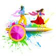 Radha and Lord Krishna playing Holi
