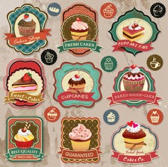 Collection of vintage retro various cupcakes elements