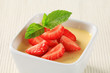 Pudding with strawberries