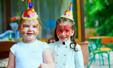 happy kids on colorful birthday party