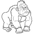 illustration of Gorilla Cartoon - Coloring book