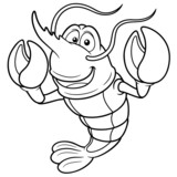 illustration of Cartoon shrimp - Coloring book