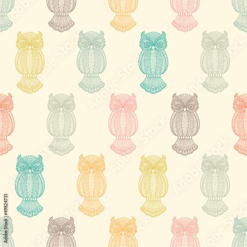 Owls seamless pattern - 49824731