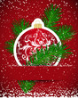 Christmas background. Wticker ball and tree branch