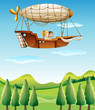 Two girls riding in an airship