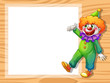 A clown beside an empty white board