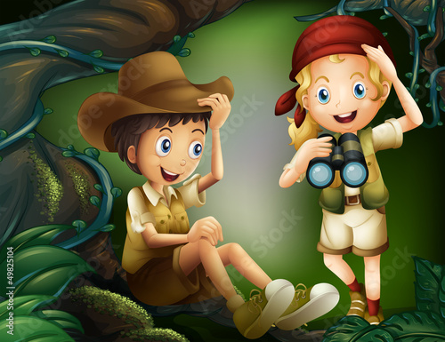 A jungle with a boy and a girl