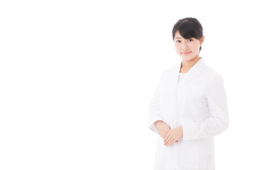 a beautiful asian doctor on white background