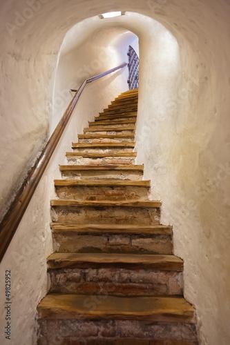 Leinwandbild Motiv Stairs in Castle Kufstein - Austria