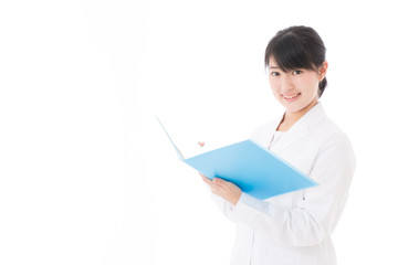 a young asian doctor on white background
