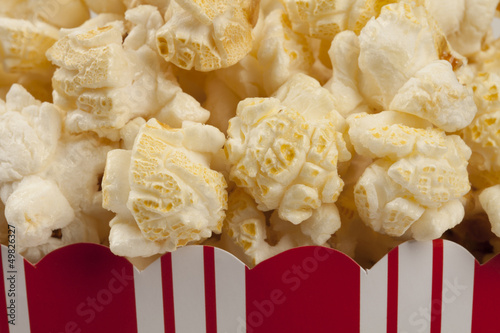 Closeup of box of popcorn