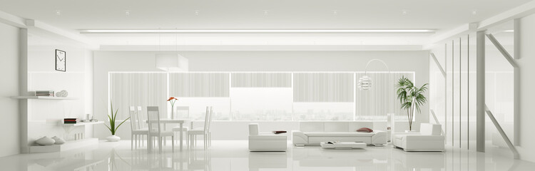 Modern weiss apartment interior panorama