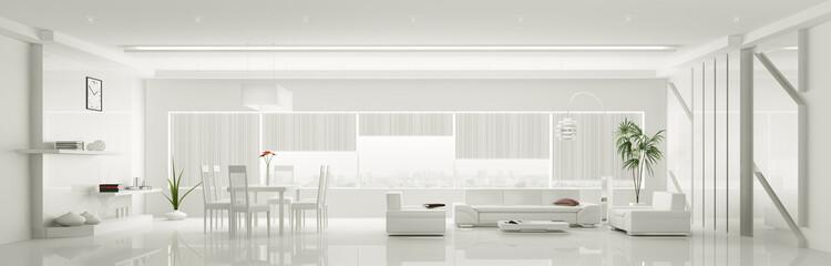 Modern weiss apartment interior panorama