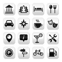 Travel tourism buttons set - vector