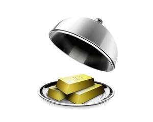 Stack of gold bars on platter