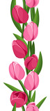 Vertical seamless background with pink tulips. Vector.