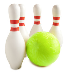 Bowling ball and bowling pin
