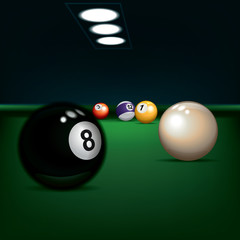 game illustration with billiard balls
