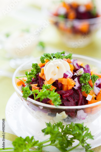 carrot and beet salad with light mayonnaise