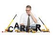 Career start up: Businessman building career-word.