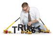 Build up trust: Businessman building trust-word.