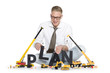 Build up a plan: Businessman building plan-word.