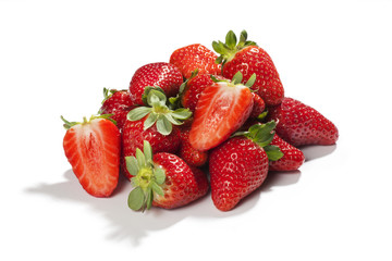 Fresh mature strawberries with leaves isolated