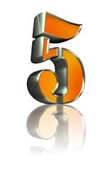 3d golden sign 5