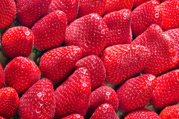 exposed, red, fresh strawberries as background