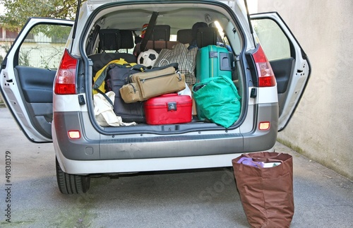 car full of luggage before departure