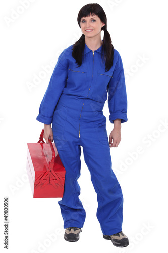 Woman with red toolbox